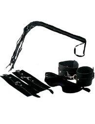 BDSM δερμάτινο σετ δεσίματος χειροπέδες / μαστίγιο / μάσκα