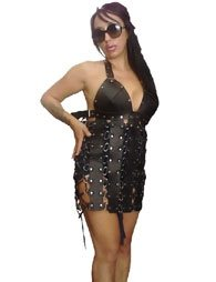 BDSM Γυναικείο μίνι φόρεμα από δέρμα