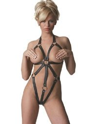 BDSM Γυναικείο κορμάκι από δέρμα και με λουριά των 2,5cm