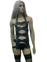 BDSM Γυναικείο φόρεμα από δέρμα με 5 χιαστή λουριά