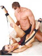 BDSM Δερμάτινες χειροπέδες με λουρί για σβέρκο