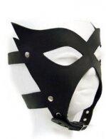 "BDSM Δερμάτινη μάσκα ""μαύρη γάτα"" που καλύπτει όλο το πρόσωπο"