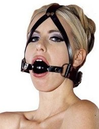 BDSM Δερμάτινο φίμωτρο με μπίλια νίκελ με ρυθμιζόμενο λουρί