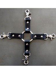 BDSM Δερμάτινος ενωτικός σταυρός με 4 λουριά