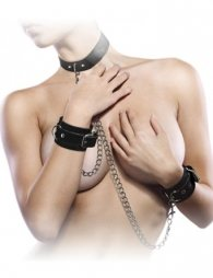 BDSM Δερμάτινο σετ δεσίματος με περιλαίμιο 3 cm και χειροπέδες