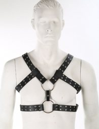 BDSM Δερμάτινο ανδρικό τοπ με 2 κρίκους με λουριά 3 cm