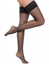Black net stocking with lace