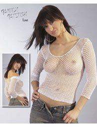 Μπλουζάκι από άσπρο δίχτυ της MANDY MYSTERY με μακρύ μανίκι