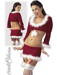 ΣΕΞΥ ΣΤΟΛΗ X-MAS SET SUSPENDER MINI SKIRT WITH TOP