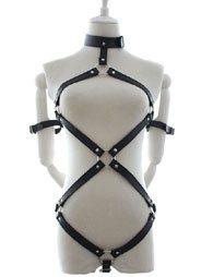 BDSM Δερμάτινο κορμάκι με περιλαίμιο/χειροπέδες