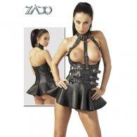 Μαύρο Δερμάτινο Φόρεμα Μίνι Ανοιχτό στο στήθος