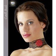 Κολάρο μαύρο δαντέλα με τριαντάφυλλο