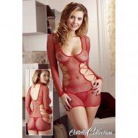 Μίνι Φόρεμα Διχτυωτό & Στρινγκ κόκκινο