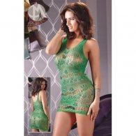Μίνι Φόρεμα Διχτυωτό & Στρινγκ πράσινο S-L
