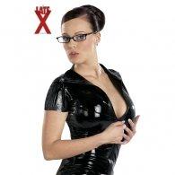 Μπλούζα Latex Μαύρη με Κοντά Μανίκια