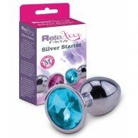 """Σφήνα μεταλλική """"Silver Starter size M"""" με κρύσταλλο μπλε"""