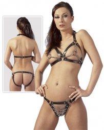 BDSM Δερμάτινο γυναικείο σύνολο με σουτιέν / κιλοτάκι