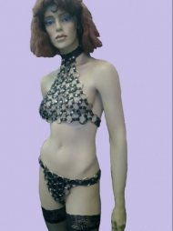 BDSM Γυναικείο σύνολο από δέρμα και με μεταλλικούς κρίκους