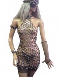 BDSM Γυναικείο φόρεμα με 180 μεταλλικούς κρίκους