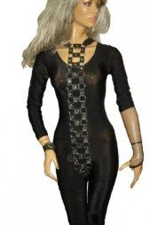 BDSM Γυναικείο κορμάκι από δέρμα και με κρίκους