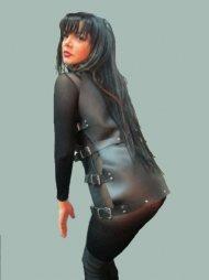 BDSM Γυναικείο φόρεμα από δέρμα και με άνοιγμα στα πλαϊνά