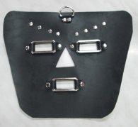 BDSM Δερμάτινη μάσκα προσώπου με μεταλλικούς κρίκους