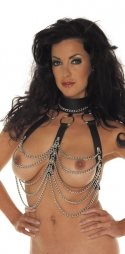 BDSM Δερμάτινο γυναικείο αξεσουάρ για το στήθος με αλυσίδες