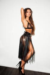 Δερμάτινη φούστα με κρόσσια μήκους