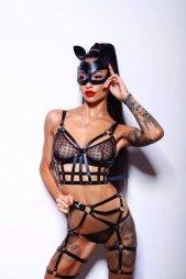 BDSM Δερμάτινο γυναικείο σετ με τοπ/ζαρτιέρες