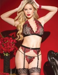 Deluxe Red Lace Bra Set