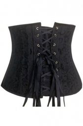 Black Underbust Corset with 24 Steel Bones