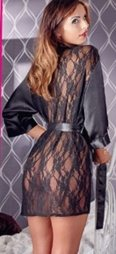 Black Kimono with Lace Back by Cottelli