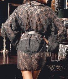 Sensual Black Lace Kimono