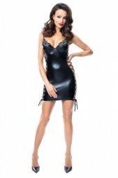 Aline Wetlook Mini Dress with Lacing
