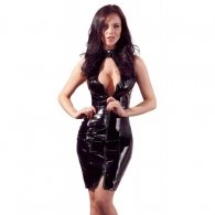 Long Vinyl Dress with Lacing Back
