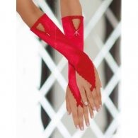 Hot Red Gloves with Finger Loop and Rhinestones