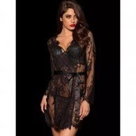 Floral Lace Kimono with String Black