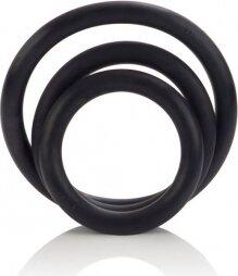 Σετ με τρία ελαστικά μαύρα δαχτυλιδια για σκληρότερη στύση Calex