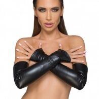 Noir Handmade Wetlook Fingerless γάντια