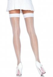 White Fishnet Thigh Highs With Backseam