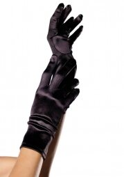 Wrist Length Satin Gloves black