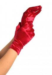 Wrist Length Red Satin Gloves