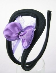 Black C String with bow in purple colour