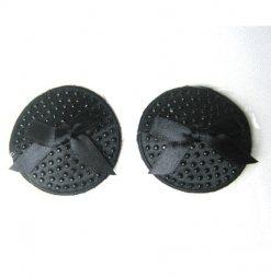 Μαύρο κάλυμμα στήθους με φιογκάκια και πέρλες Nipple Cover