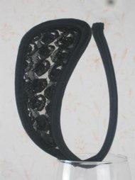 Λουλουδάτο γυναικείο c-string σε μαύρο χρώμα