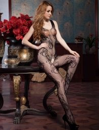 Net bodystocking with opening crotch