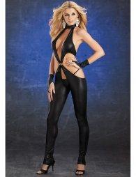 Μαύρη Βινύλ Ολόσωμη Φόρμα με γάντια και στρινγκ Vinyl Bodysuit