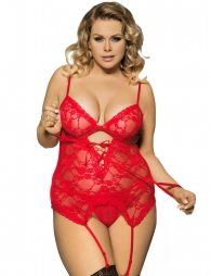 Plus Size Lace Red Round Open Back Babydoll