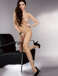 Nude bodystocking with flowers design