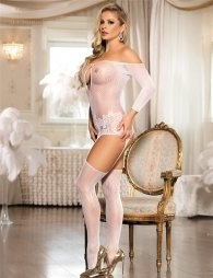 Net bodystocking in whte and with sleeves
